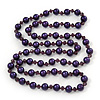 Long Purple Simulated Glass Pearl/Bead Necklace - 110cm Length