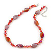 Glittering Carrot Red Glass Bead Necklace In Silver Plating - 42cm Length/ 6cm Extension