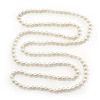 Long White Glass Bead Necklace - 140cm Length/ 8mm