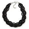 Luxurious Braided Black Bead Choker Necklace In Silver Plating - 36cm Length/5cm Extension