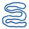 Long Cobalt Blue Glass Bead Necklace - 140cm Length/ 8mm