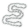 Long Light Grey/Metallic Grey Glass Pearl/Bead Necklace - 110cm Length