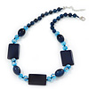 Dark Blue Ceramic & Ligth Blue Crystal Bead Necklace In Rhodium Plating - 42cm Length/ 5cm Extension