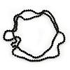 Long Black Glass Bead Necklace - 140cm Length/ 8mm