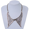 Antique Silver Effect Tailored Collar Necklace on Flat Snake Chain - 42cm Length/5cm Extension