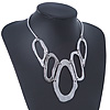 Silver Plated Hammered 'Aiko' Bib Choker Necklace - 36cm Length/ 6cm Extension