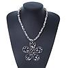 White/ Grey Coloured Glass Bead Flower Pendant Necklace - 40cm Length