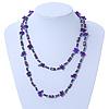Long Purple Shell & Hematite Bead Long Necklace - 106cm Length