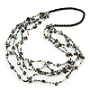 Long Multistrand Black/ White Shell/ Glass Bead Necklace - 84cm Length