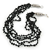 Black Multistrand, Layered Glass Bead Necklace In Silver Plating - 60cm Length