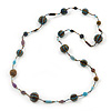 Long Glass Bead Ball Necklace (Light Blue, Gold, Brown) - 100cm Length