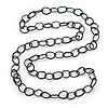 Long Black/ Metallic Grey Glass Bead Oval Link Necklace - 140cm Length