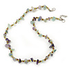 Lavender/ Pale Green Semiprecious Chips, Glass Bead Necklace In Silver Plating - 50cm Length/ 3cm Extender