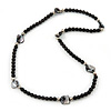 Black Glass/Metal/ Shell Bead Necklace - 66cm Length