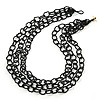 3 Strand Black Glass Bead Oval Link Necklace - 70cm Length