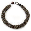 Chunky Braided Peacock/ Metallic Bronze Glass Bead Choker Necklace - 40cm Length
