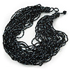 Chunky Multistrand Glass & Ceramic Bead Necklace (Black/ Metallic Silver) - 42cm Length