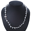 Milky White/ Transparent Semiprecious Chips, Glass Bead Necklace In Silver Plating - 46cm Length/ 3cm Extender