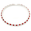 Silver Plated Clear/ Red Austrian Flex Choker Necklace