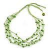 Multistrand Lime Green Wood Beaded Cotton Cord Necklace - 80cm Length