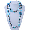 Long Light Blue/ Gold Wood Bead Black Cord Necklace - 120cm Length