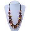 Brown/ Sandy Wood 'Button' Cluster Cotton Cord Necklace - 70cm Length