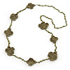 Long Olive Floral Crochet, Glass Bead Necklace - 96cm Length