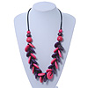 Bright Pink/ Violet Wood 'Button' Cluster Cotton Cord Necklace - 70cm Length