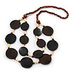 Wood Round Bead, Layered Necklace (Brown/ Cream)  - 74cm Length