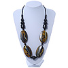 Chunky Black/ Gold Oval Wood Bead Cotton Cord - 84cm Length