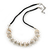 Antique White Shell Button & Metal Bead Velour Cord Necklace In Silver Tone - 52cm Length/ 7cm Extension