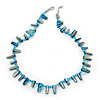 Light Blue Shell Nugget & Small Glass Bead Necklace In Silver Tone - 42cm Length/ 4cm Extension