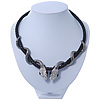 Austrian Crystal 'Double Snake' Black Leather Cord Necklace In Gunmetal - 46cm Length/ 8cm Extension
