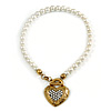 White Simulated Glass Pearl With Crystal Heart Pendant Necklace With T-Bar Closure In Gold Tone - 42cm Length