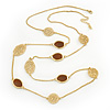 Long Stylish Brown Enamel Flower Necklace In Gold Plating - 104cm Length/ 5cm Extension