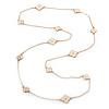 Long Stylish White Enamel Flower Necklace In Gold Plating - 132cm Length