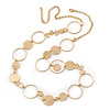 Long Hammered Coin & Circle Necklace In Gold Plating - 100cm Length/ 8cm Extension
