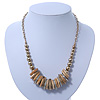 Contemporary Wood, Diamante Metal Rings Bead Necklace In Gold Plating - 42cm Length/ 7cm Extension