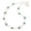 Long Stylish Round & SquareTeal Enamel Station Necklace In Gold Plating - 94cm Length/ 8cm Extension