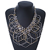 Statement Two Tone Geometric Bib Style Necklace - 40cm Length/ 6cm Extension