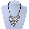 Ethnic Metal 'Leaf' Bib Style Necklace With Black Leather Cord In Antique Silver Tone - 38cm Length/ 5cm Extension