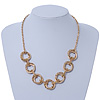 Gold Plated Mesh & Polished Ring Necklace - 50cm Length