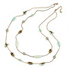 Vintage Inspired Two Strand Light Green Bead Necklace In Bronze Tone Metal - 68cm L/ 5cm Ext