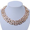 Statement Polished Open Square Link Necklace In Gold Plating - 46cm Length