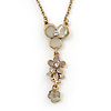 Light Grey/ Beige Enamel Floral Dangle Pendant Gold Tone Chain Necklace - 36cm Length/ 8cm Extension