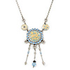 Vintage Inspired Light Blue Crystal, Enamel Floral Medallion Pendant Necklace In Pewter Tone Metal - 36cm Length/ 8cm Extension
