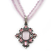 Victorian Style Filigree Pink Crystal Pendant With Pale Lavender Stretch Ribbon Choker Necklace In Burn Silver - 28cm Length/ 5cm Extension