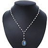 White Simulated Pearl Y-Shape Necklace With Blue Cat Eye Oval Pendant In Antique Silver Tone - 38cm Length/ 8cm Extension