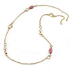 Vintage Inspired Chunky Link Chain with Rose Quartz and Plastic Beads Necklace - 102cm L/ 7cm Ext