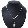 White Simulated Pearl Y-Shape Necklace With Milky White Cat Eye Oval Pendant In Antique Silver Tone - 38cm Length/ 8cm Extension